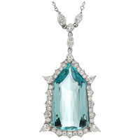 Aqua and Diamond Drop Platinum Pendant