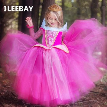 New Spring Baby Girls Sleeping Beauty Princess Dresses Aurora Kids Girls Fantasy Party Cosplay Dresses Children Gown Costume