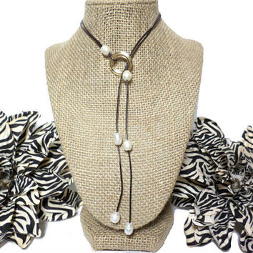 Ivory Fresh Water Pearl Brown Genuine Leather Knotted Cord Gold Circle Disc Lariat Necklace, gift
