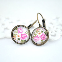 Dangle Earrings Pink Flower Picture, Antique Brass, Glass Dome