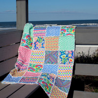 Rag Quilt Lap Quilt Couch Throw Colorful Springtime Handmade Quilt