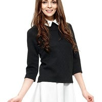 Black Embossed Pattern Shirt collar Rhinestone Detail T-shirt