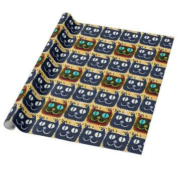 cartoon style black cat head tiled pattern wrapping paper