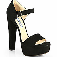 Prada - Suede Platform Sandals - Saks Fifth Avenue Mobile