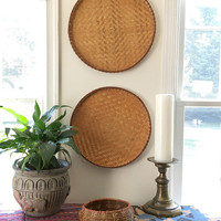 Large Round Rattan Basket, Woven Wall Basket, Large Round Coffee Table Basket, Matching Flat Basket Tray