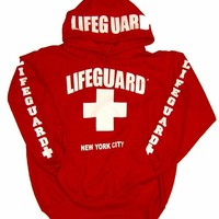 LIFEGUARD New York City Hoodie - Size: Adult Medium - Color: Red