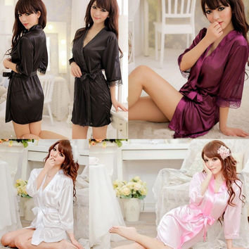 1 pc The New Women Sexy Satin Lace silk Robe Sleepwear Lingerie Nightdress G-string Pajamas bathrobe dressing gown