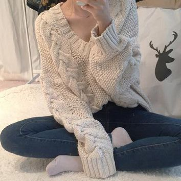 Twisted Pullover Sweater Winter V-neck Long Sleeve Women's Fashion Knit Tops Jacket [62982029337]
