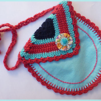 Girls bag blue crochet and felt / shoulder bag for child in blue felt / Accessories for Girls in handmade / crochet girls handbag
