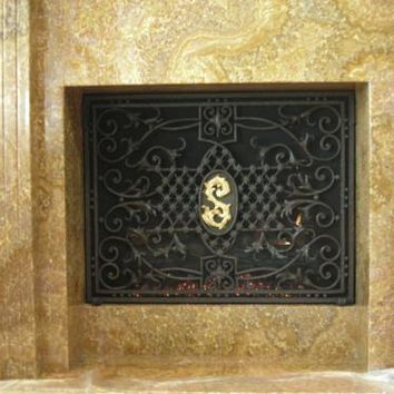Product: Iron Monogram Screen - Fireplace Gallery & Fireplace Designs - Traditional Fireplaces, Contemporary Fireplace, Antique Fireplace and more. - at wilshirefireplace.com