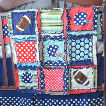 Rag Quilt, Vintage Football Themed With Helmets and Appliqued Footballs, in Navy Blue, Red, and Brown, Made to Order