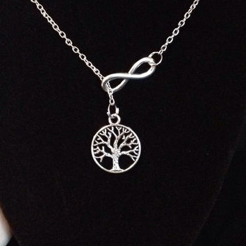 Infinity Tree Of Life Lariat Necklace