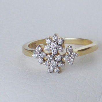 18k Estate Antique Vintage Ring Natural Diamonds Solid Gold Art Deco Edwardian Georgian Ballerina Flower Cluster Dainty Engagement