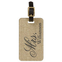 Rustic Burlap Mrs Travel Luggage Tag Newly Weds Tags For Bags