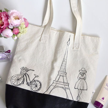 Faux leather and off white canvas tote bag, Paris drawing bag, Black leather and fabric bag, Shoulder textile bag, Gift for girls and women