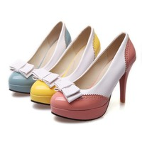 Pastel Retro Wingtip Style Pumps with bowtie