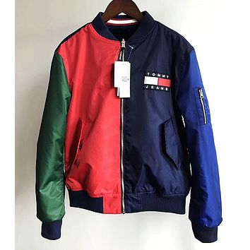 """"""" Tommy Hilfiger """" Fashion Women Hit color Two sides wear With velvet Coat"""