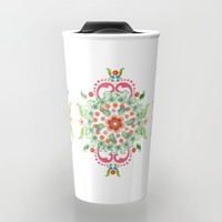 Folk Art Medallions on white Travel Mug by Heaven7 | Society6