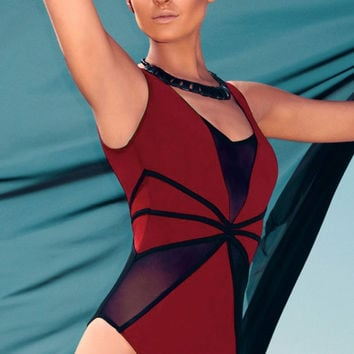 Red Black Mesh Cutout Teddy Swimwear
