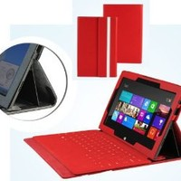 Navitech Ruby Red Bicast Leather Case Cover Sleeve For The Microsoft Surface Tab Windows RT & Windows 8