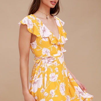French Quarter Yellow Floral Print Wrap Dress