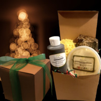 Custom Organic, Raw, Grade A African Shea Butter & Black Soap Holiday Gift Box