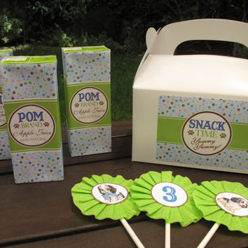 Puppy Party Gable Box and Labels / Favor Box / Snack Box