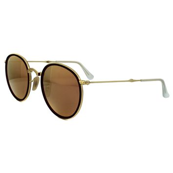 Ray-Ban Sunglasses Round Folding 3517 001/Z2 Gold Copper Mirror