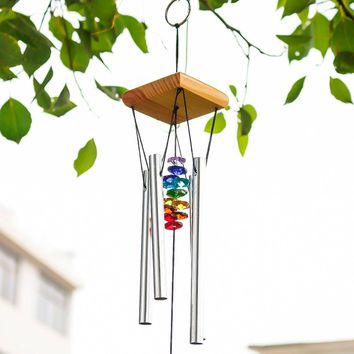 H&D Wind Chimes with Rainbow Chakra Sun Catchers Crystal Ball Prism Windchime Encore Collection Handmade Craft