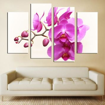 4 panel cavas printing wall art flower pictures without frame for bedroom decorative art poster rock bottom price for sale FA556