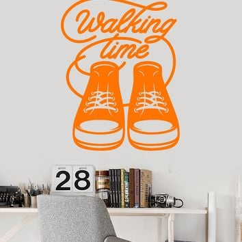Vinyl Wall Decal Sneakers Walking Time Words Quote Teen Room Stickers (2377ig)