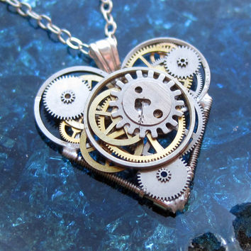 "Mini Steampunk Heart Necklace ""Outré"" Elegant Industrial Heart Pendant Steampunk Sculpture Gershenson-Gates Mechanical Mind Christmas"