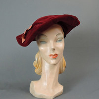 40s Dark Red Velvet Hat, Floppy, Pancake Saucer Hat with Bow, Vintage 1940s Hat