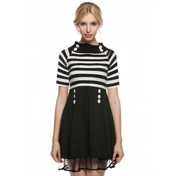 Women Vintage Style Rockabilly A-line Short Sleeve Stripe Casual Party Cocktail Dress