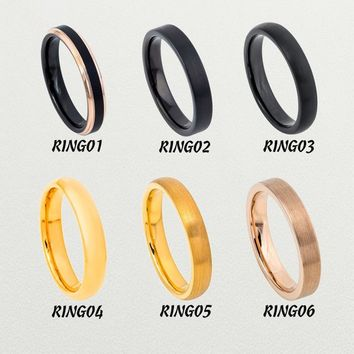 Personalized Promise Ring For Women 4mm Tungsten Wedding Band Collection Black/Yellow Gold/Rose Gold Finish Inside Custom Engraving