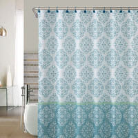 "Shower Curtain- Ashur Blue Embossed Microfiber - 72""x 72"""