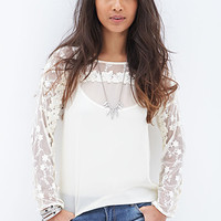 FOREVER 21 Embroidered Georgette Top Cream
