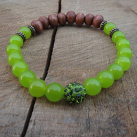 EASTER Spring Green Bracelet, Nature Themed Natural Wood Beads Peridot Gemstones Stretch Beaded Bracelets, Women Bracelet, Bling Rhinestone
