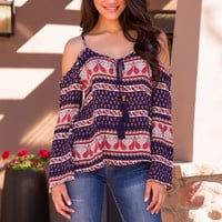 Young and Free Tassel Top - Navy