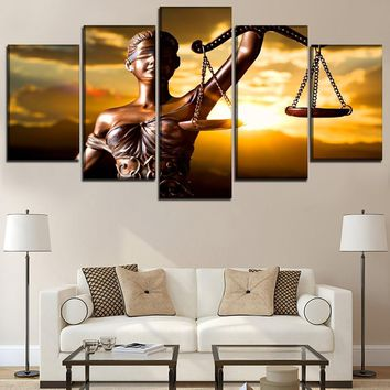 5 Piece With the Image Of Themis Goddess of Justice Painting Wall Art Framework Home Decor Modular Picture Canvas Print Poster