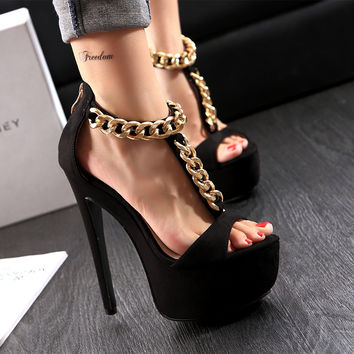 Brand New Fashion Sexy open Toe Ultra High thin heel Women pumps/Hot T-strappy Chains women party wedding Sandals