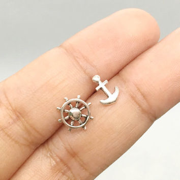 Sterling Silver Anchor and Wheel Stud Earrings, Nautical Earrings, mismatched stud earrings, anchor stud earrings, Tiny Post Earrings, gift