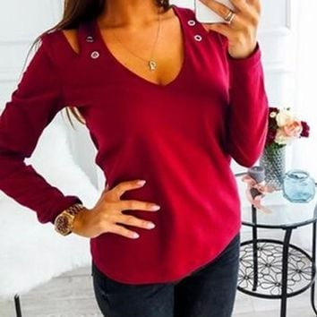 New Red Cut Out Sequin V-neck Long Sleeve Casual T-Shirt