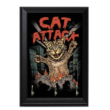 Cat Attack Decorative Wall Plaque Key Holder Hanger