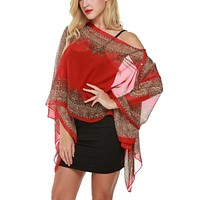 Summer  Vintage Women Floral Print Cover Up Top Blouse 3/4 Sleeve Casual Beach Boho Cover Up Long Tops
