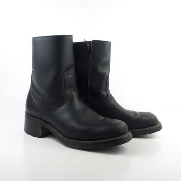 Frye Campus Boots Vintage 1990s Short Leather Black Ankle Women's size 8