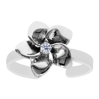 Sterling Silver Rhodium Plated Flower With CZ Cuff Style Adjustable Toe Ring