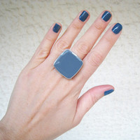 Denim Blue statement ring, navy indigo sky blue minimal big chunky cocktail silver adjustable glass dome modern greek jewelry custom color