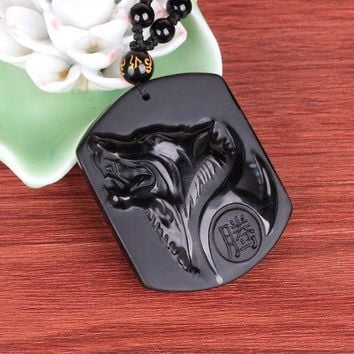 CREYET7 Natural Black Obsidian Carving Wolf Head Amulet pendant free necklace obsidian Blessing Lucky pendants fashion Jewelry