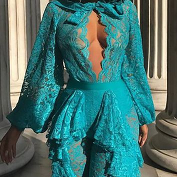 All These Years Sheer Lace Long Sleeve Ruffle Cut Out Tie Neck Plunge V Jumpsuit - 2 Colors Available